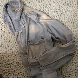 "jean button down ""boyfriend"" long sleeve shirt"